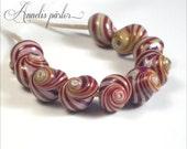 SRA handmade lampwork beads, stripey glass shells, sea snail shells, Artisan lampwork beads, Swedish glass crafts