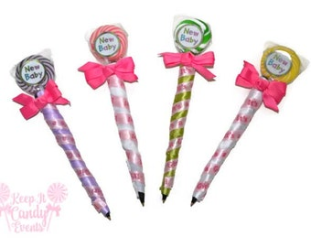 Baby Shower Lollipop Pen, Baby Shower Favor, Edible Baby Shower Favor, Baby Shower Pen, Pen Favors,  Baby Girl Favors, Gender Reveal Favors