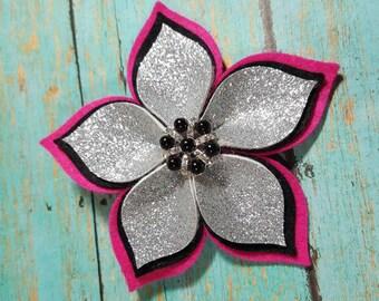 Girls Flower Hair Clip - Felt Flower Clip - Layered Felt Flower Clip - Flower Clip - Felt Flower - Glitter Flower Hair Clip - Ready to Ship