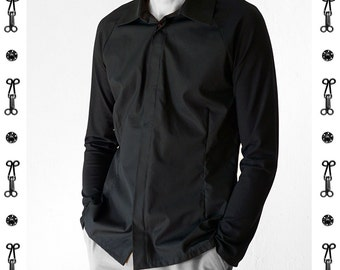 RAGLAN SHIRT, white, black, slim, collar, wedding, concealed buttons, Sportswear, Classic, tailored, custom, Jersey