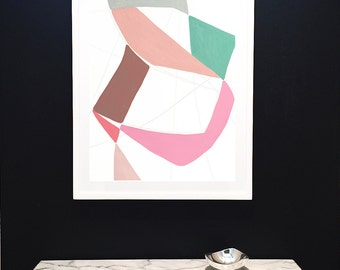 Original Painting on Paper-Silhouette-Pink-Green-Minimalist-Organic-Shapes-Original-Modern Art-Cutout-Abstract-Contemporary-Modern Interior