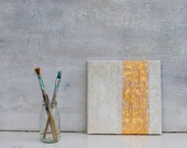 """Gold leaf, white, gold, 8x8 x0,6"""" Abstract painting, original painting, mixed media, abstract art,  white, acrylic painting, Impasto, #usa"""