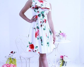 Sleeveless rose dress, knee length white dress, womens dress, office dress, swing dress,