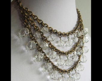 Glamourous vintage brass & faceted CRYSTAL BAUBLES triple strand bib NECKLACE