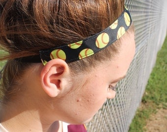 Black Headband Softball Team Gift, Womens Sport Softball Headband, Choice of Size and Pattern, Girls Softball Gifts, Headbands for Women