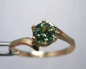 DEMANTOID - 14K Yellow Gold Genuine Demantoid GARNET  Rare Luminous Ring 0.41 carats! FREE Shipping!