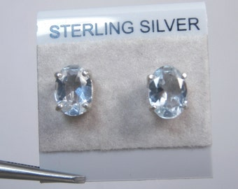 AQUAMARINE - Bright, Lite-Blue Aquamarine Sterling Silver Stud Earrings! FREE SHIPPING!