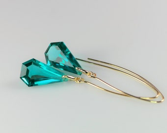 Silver gold plated earrings with green amethyst