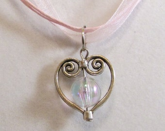 Sweet Pink Heart 16in Tricord Ribbon Necklace (N176)