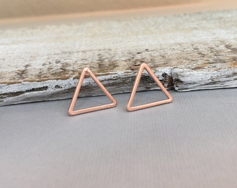 Rose Gold Triangle Post Earrings, Gold Open Triangle Earrings, Triangle Earrings, Silver Triangle Earrings, Wedding Jewerly