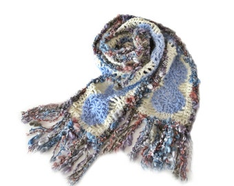 """Narrow CROCHET SCARF with Tassels - White, Blue and Multicolour Scarf - Unique Handmade Crochet Scarf with Tassels (63""""x 4.75"""")"""