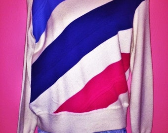 80s Diagonal Striped Sweater, Size M/L