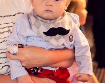 Mustache Bib for Baby Boy Toddler Dribble Bib Bandana Neckerchief Drool Scarf Bib