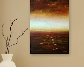 Abstract Painting, Red Brown White Seascape Painting, Coastal Art, Modern Textured Art, Earth Tones, Large Original Artwork by Julia Bars