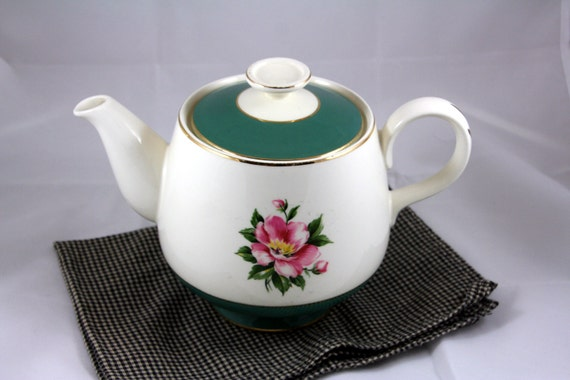 Cavalier Empire Green Teapot Homer Laughlin Pink Roses