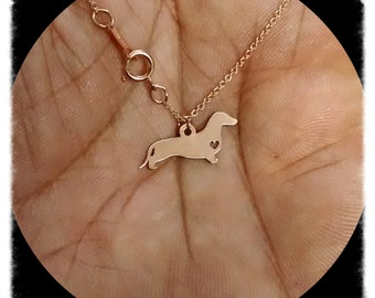 Dachshund Necklace - Engraving Pendant - Sterling Silver Jewelry - Gold Jewelry - Rose Gold Jewelry - Personalized Pet Dog Jewelry - Gift