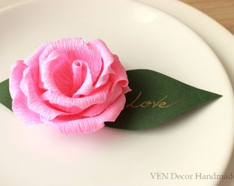 10 Wedding Rose Place Cards, Flower Name Cards, Wedding Table Decor, Wedding Party Name Cards, Table Seating Cards, Reception Place Cards