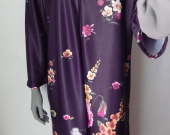 1970 NPC Fashions  Lounger Robe Patio Maxi Dress Brown Floral Print Medium
