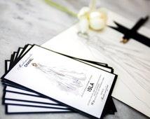 Chanel Bridal Shower Invitation - Custom Sketch Chanel  Bridal Gown