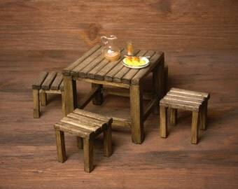 Miniature Table Set For Your Dollhouse Garden
