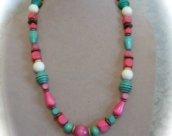 Vintage 1970's Necklace with Pink and Turquoise Wooden Beads