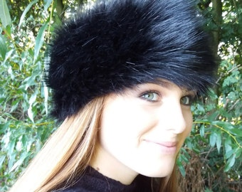 Long Black Faux Fur Headband / Neckwarmer / Earwarmer Handmade in Lancashire England
