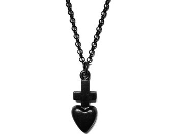 Promise - Black Series - Black Necklace - Masculine Necklace - Gifts for Him - Black Cross Necklace - Black Heart Necklace by Modern Out