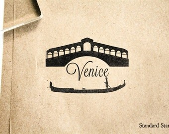 Venice Boating Rubber Stamp - 2 x 2 inches