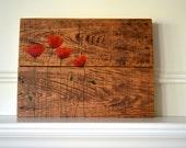 CUSTOMReclaimed Wood Art Sign: Red Poppies three panel