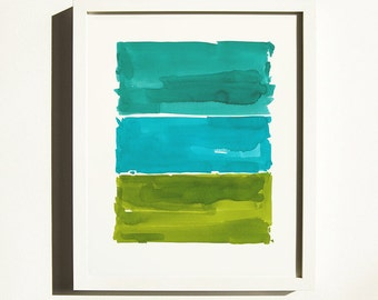 Original Watercolor Painting, Extra Large, Art, Abstract Painting, Contemporary Wall Art, Stripes, Green,Teal, Bluish Green, Minimal Art