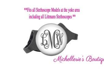 3M Littmann Stethoscope ID tag, Monogram Stethoscope Id Tag, Personalized Stethoscope Id tag, Name Stethoscope Tag, Classic White