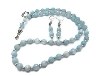 Light Blue Beaded Necklace Set, Blue Jade Necklace, Pale Blue Stone Necklace, Sky Blue Necklace, Baby Blue Earring, Blue Jade Earring