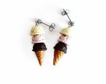 Neapolitan Ice Cream Cone, Ice Cream Earrings, Dessert Jewelry, Pastel Earrings, Summer Jewellery, Clay Food, Cute Gifts For her