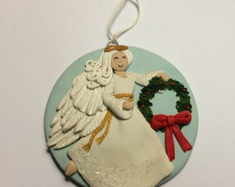 Angel ornie by Raquel at theWRC hand sculpted polymer clay Collector ANGEL ORNAMENT