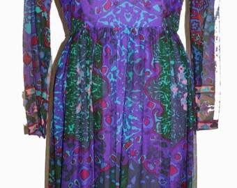1960s Adele Simpson Womens Chiffon Dress Sz 10 Designer Vintage Retro