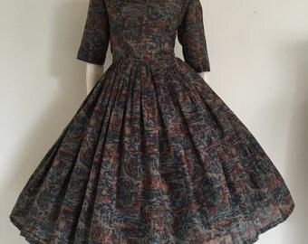 GORGEOUS Novelty European Seaside Boat Print 50's Party Dress / Full Skirt / Medium / Toile Print