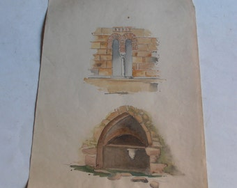 antique watercolor painting, Kaisariani, Athens, Greece, monastery and Kalopoula fountain