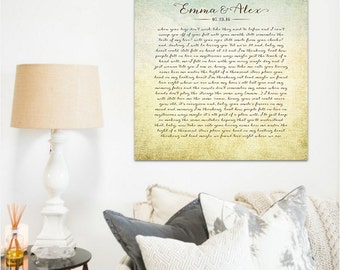 Song Lyrics Wall Art, Wedding Vows, Anniversary Gift, Personalized Gift, Wedding Gift, First Dance, Custom Gift, Large Canvas, Vintage