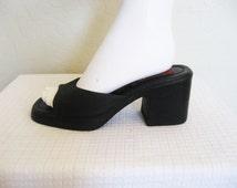 ESPRIT 90s Black Slip on chunky heels - 7.5 women's shoes