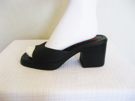 esprit 90s black slip on chunky heels 7 5 by deeepwatervintage