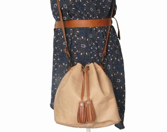 Handmade cognac leather bucket bag