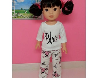 Handmade Doll PJ's  fits 14.5 inch dolls like Wellie Wishers, Pajamas, Doll Shirt, Doll Pants, Paris, Eiffel Tower, Poodle, Ooh La La