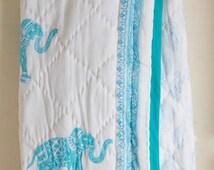 Elle baby quilt - Block print quilt - Baby shower gift  - Pink purple nursery - cotton baby blanket - crib bedding - 36x50 inches