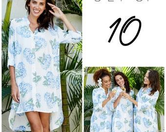 SET OF 10 - 30% Disc - Pandora Bridesmaid Shirts - Long Sleeve - Hydrangea BLUE - Code: P130 (b)