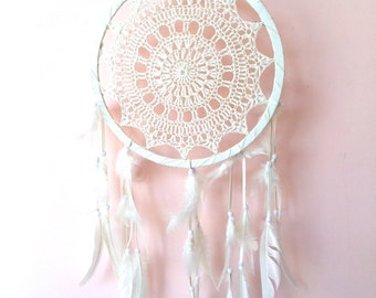 Crochet Dream Catcher Large, Cream Cotton Crochet, Gift Idea - 25cm - Code: A002