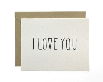Hand Lettered I Love You Card, Recycled Card