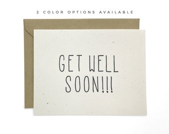 Hand Lettered Get Well Soon Card, Recycled Card