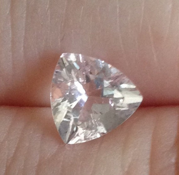 Solitaire Morganite 1.25 Carat 7.5x7.5mm Natural Triangle Blush Gemstone with Video
