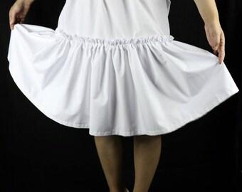 Cotton petticoat. Double later ruffle. Vintage style lingerie.