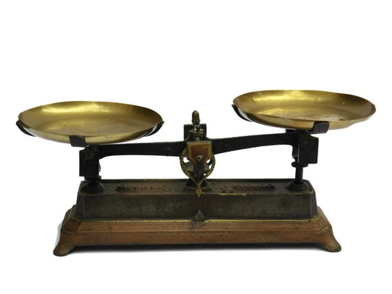 Antique french cast iron and brass measuring scales rustic for Rustic kitchen scale
